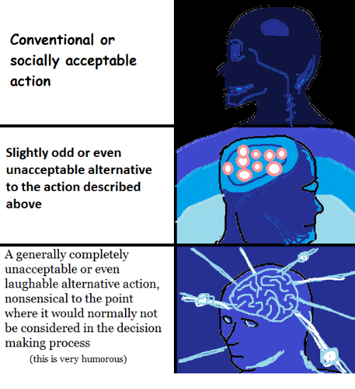 Dank Memes, Decisions, and Nonsense: Conventional or  socially acceptable  action  slightly odd or even  unacceptable alternative  to the action described  above  A generally completely  unacceptable or even  laughable alternative action,  nonsensical to the point  where it would normally not  be considered in the decision  making process  (this is very humorous)