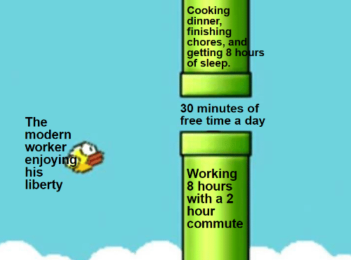 enjoying: Cooking  dinner,  finishing  chores, and  getting 8 hours  of sleep.  30 minutes of  free time a day  The  modern  worker  enjoying  his  liberty  Working  8 hours  with a 2  hour  commute