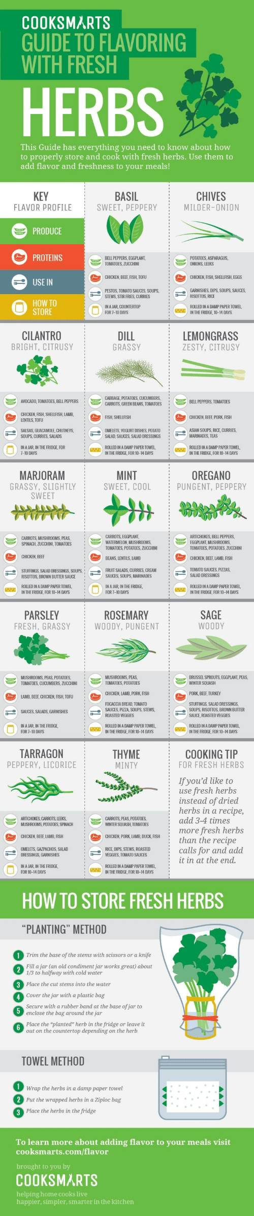 Asian, Beef, and Fresh: COOKSMARTS  GUIDE TO FLAVORING  WITH FRESH  HERBS  This Guide has everything you need to know about how  to properly store and cook with fresh herbs. Use them to  add flavor and freshness to your meals!  BASIL  SWEET, PEPPERY  KEY  CHIVES  FLAVOR PROFILE  MILDER-ONION  PRODUCE  PROTEINS  POTATOES, ASPARAGUS.  ONIONS, LEEKS  BELL PEPPERS, EGGPLANT  TOMATOES, ZUCCHINI  CHICKEN, BEEF, FISH, TOFU  CHICKEN, FISH, SHELLFISH, EGGS  USE IN  GARNISHES, DIPS, SOUPS, SAUCES,  RISOTTOS, RICE  PESTOS, TOMATO SAUCES, SOUPS,  STEWS STIR FRIES, CURRIES  HOW TO  STORE  IN A JAR, COUNTERTOP  FOR 7-10 DAYS  ROLLED IN A DAMP PAPER TOWEL  IN THE FRIDGE, 10-14 DAYS  CILANTRO  BRIGHT, CITRUSY  DILL  LEMONGRASS  GRASSY  ZESTY, CITRUSY  CABBAGE, POTATOES, CUCUMBERS  CARROTS, GREEN BEANS, TOMATOES  AVOCADO, TOMATOES, BELL PEPPERS  BELL PEPPERS, TOMATOES  CHICKEN, FISH, SHELLFISH, LAMB  LENTILS, TOFU  FISH, SHELLFISH  CHICKEN, BEEF, PORK, FISH  OMELETS, YOGURT DISHES, POTATO  ASIAN SOUPS, RICE, CURRIES  MARINADES, TEAS  SALSAS, GUACAMOLE, CHUTNEYS,  SOUPS, CURRIES, SALADS  SALAD SAUCES, SALAD DRESSINGS  ROLLED IN A DAMP PAPER TOWEL  IN THE FRIDGE, FOR 10-14 DAYS  ROLLED IN A DAMP PAPER TOWEL  IN THE FRIDGE, FOR 10-14 DAYS  IN A JAR, IN THE FRIDGE, FOR  7-10 DAYS  MINT  SWEET, COOL  OREGANO  PUNGENT, PEPPERY  MARJORAM  GRASSY, SLIGHTLY  SWEET  CARROTS, EGGPLANT  WATERMELON, MUSHROOMS  TOMATOES, POTATOES, ZUCCHINI  ARTICHOKES, BELL PEPPERS,  EGGPLANT, MUSHROOMS  TOMATOES, POTATOES, ZUCCHINI  CARROTS, MUSHROOMS, PEAS  SPINACH, ZUCCHINI, TOMATOES  CHICKEN, BEEF  BEANS LENTILS, LAMB  CHICKEN, BEEF, LAMB, FISH  TOMATO SAUCES, PIZZAS  SALAD DRESSINGS  FRUIT SALADS, CURRIES, CREAM  SAUCES, SOUPS, MARINADES  STUFFINGS, SALAD DRESSINGS, SOUPS,  RISOTTOS, BROWN BUTTER SAUCE  ROLLED IN A DAMP PAPER TOWEL  IN THE FRIDGE, FOR 10-14 DAYS  IN A JAR, IN THE FRIDGE  FOR 7-10 DAYS  ROLLED IN A DAMP PAPER TOWEL  IN THE FRIDGE FOR 10-14 DAYS  PARSLEY  SAGE  ROSEMARY  WOODY  FRESH, GRASSY  