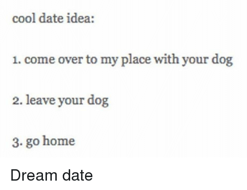 Come Over, Girl Memes, and Go Home: cool date idea:  1. come over to my place with your dog  2. leave your dog  3. go home Dream date