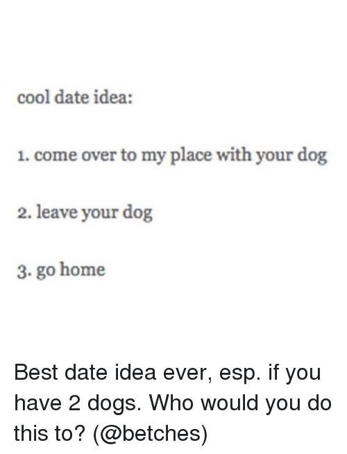 Come Over, Dogs, and Memes: cool date idea:  1. come over to my place with your dog  2. leave your dog  3. go home Best date idea ever, esp. if you have 2 dogs. Who would you do this to? (@betches)