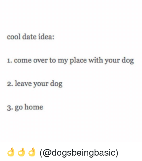 Come Over, Memes, and 🤖: cool date idea:  1. come over to my place with your dog  2. leave your dog  3. go home 👌👌👌 (@dogsbeingbasic)