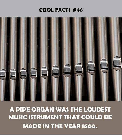 Facts, Music, and Cool: COOL FACTS #46  A PIPE ORGAN WAS THE LOUDEST  MUSIC ISTRUMENT THAT COULD BE  MADE IN THE YEAR 1600.