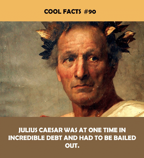 Cool Facts: COOL FACTS #90  JULIUS CAESAR WAS AT ONE TIME IN  INCREDIBLE DEBT AND HAD TO BE BAILED  OUT.