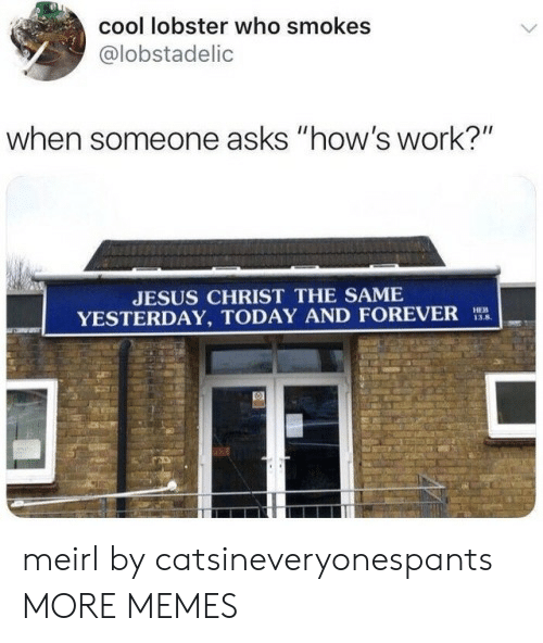 """Dank, Jesus, and Memes: cool lobster who smokes  @lobstadelic  when someone asks """"how's work?""""  JESUS CHRIST THE SAME  YESTERDAY, TODAY AND FOREVER  HEB  13.8 meirl by catsineveryonespants MORE MEMES"""