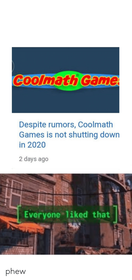 Game, Games, and Down: Coolmath Game  Despite rumors, Coolmath  Games is not shutting down  in 2020  2 days ago  Everyone liked that phew
