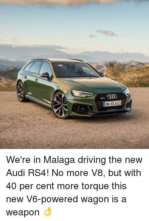 torque: COOO  HN RS 4015 We're in Malaga driving the new Audi RS4! No more V8, but with 40 per cent more torque this new V6-powered wagon is a weapon 👌