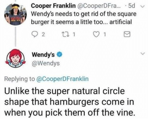 Dank, Vine, and Wendys: Cooper Franklin @CooperDFr.. 5d  Wendy's needs to get rid of the square  burger it seems a little too... artificial  Wendy's  @Wendys  Replying to @CooperDFranklin  Unlike the super natural circle  shape that hamburgers come in  when you pick them off the vine.