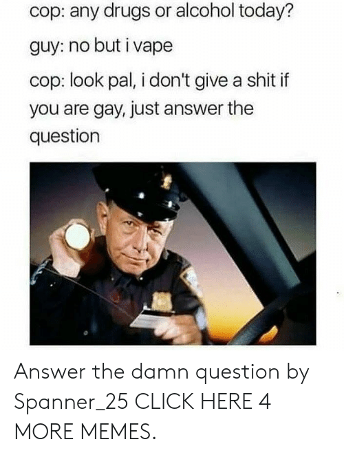 You Are Gay: cop: any drugs or alcohol today?  guy: no but i vape  cop: look pal, i don't give a shit if  you are gay, just answer the  question Answer the damn question by Spanner_25 CLICK HERE 4 MORE MEMES.