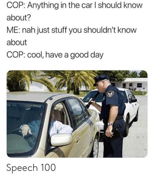 Shouldnt: COP: Anything in the car I should know  about?  ME: nah just stuff you shouldn't know  about  COP: cool, have a good day Speech 100