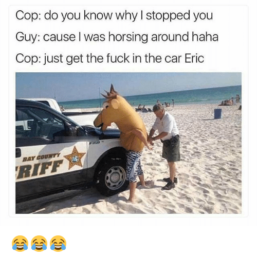 Funny, Fuck, and Haha: Cop: do you know why I stopped you  Guy: cause l was horsing around haha  Cop: just get the fuck in the car Eric  BAY COUNTY  RIFF 😂😂😂