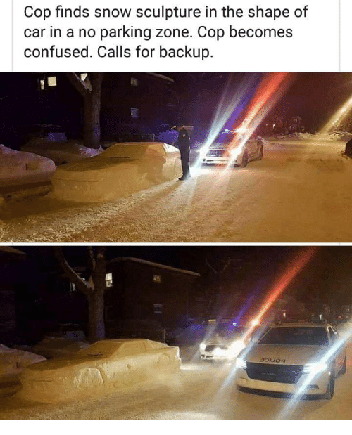 Confused, Snow, and Car: Cop finds snow sculpture in the shape of  car in a no parking zone. Cop becomes  confused. Calls for backup.  An
