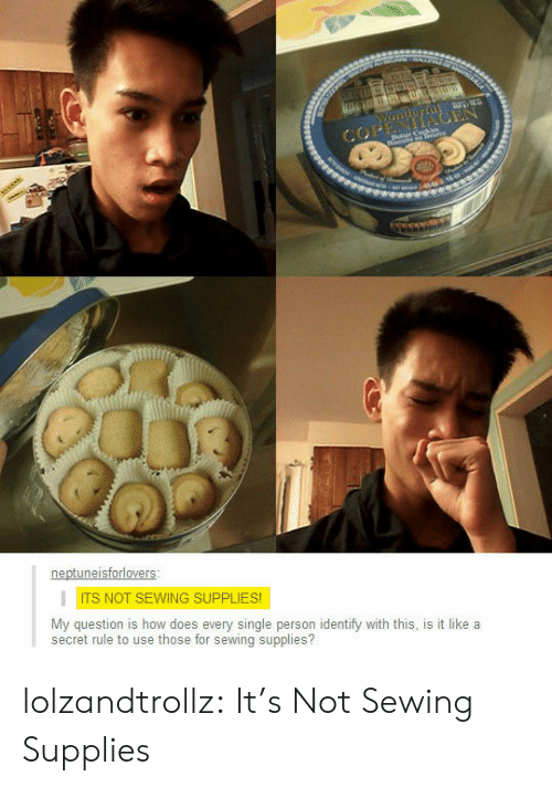 Tumblr, Blog, and Single: COPENIACEN  Butter Cohe  ror44 1  neptuneisforlovers  ITS NOT SEWING SUPPLIES!  My question is how does every single person identify with this, is it like a  secret rule to use those for sewing supplies? lolzandtrollz:  It's Not Sewing Supplies