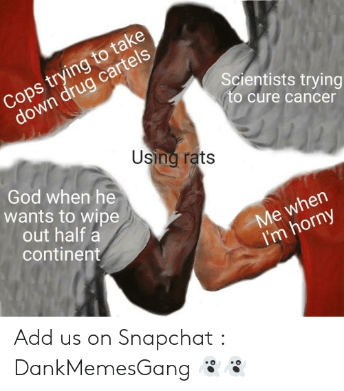 God, Horny, and Snapchat: Cops trying to take  down drug cartels  Scientists trying  to cure cancer  Using rats  God when he  wants to wipe  out half a  continent  Me when  I'm horny Add us on Snapchat : DankMemesGang 👻👻