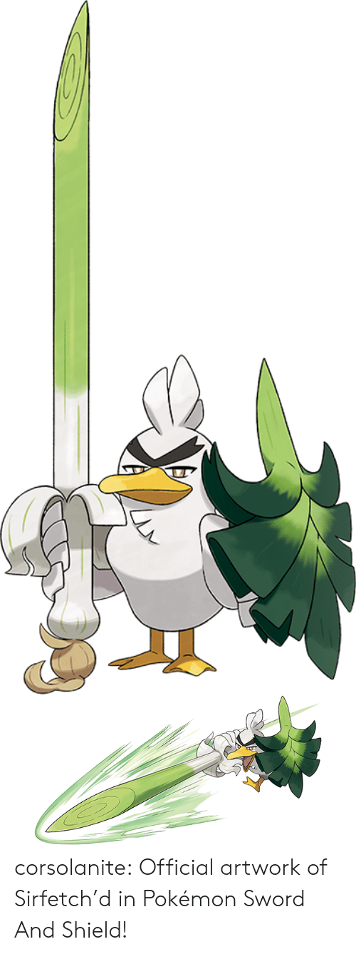 pok: corsolanite: Official artwork of Sirfetch'd   in Pokémon Sword And Shield!