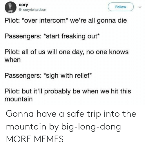 "Passengers: cory  a_coryrichardson  Follow  Pilot: *over intercom* we're all gonna die  Passengers: ""start freaking out*  Pilot: all of us will one day, no one knows  when  Passengers: ""sigh with relief  Pilot: but it'll probably be when we hit this  mountain Gonna have a safe trip into the mountain by big-long-dong MORE MEMES"