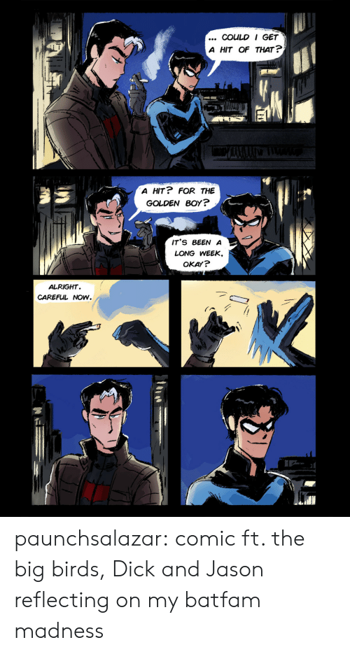Target, Tumblr, and Birds: COULD I GET  A HIT OF THAT ?  A HIT? FOR THE  GOLDEN BOY?  IT'S BEEN A  LONG WEEK,  OKAY?  ALRIGHT  CAREFUL NOW. paunchsalazar:  comic ft. the big birds, Dick and Jason reflecting on my batfam madness