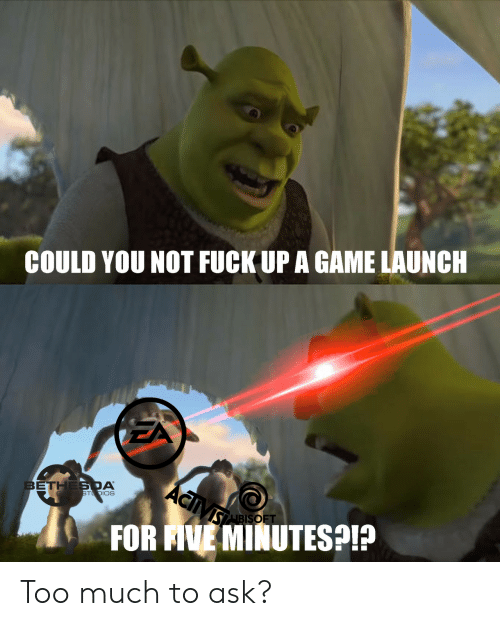 Ave: COULD YOU NOT FUCK UP A GAME LAUNCH  ACiVs  BETHES DA  GA E STDIOS  SABISOFT  FOR AVE MINUTESP Too much to ask?