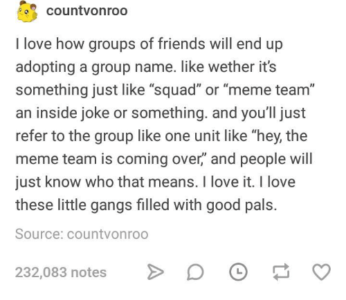 """Meme Team: countvonroo  I love how groups of friends will end up  adopting a group name. like wether its  something just like """"squad"""" or """"meme team""""  an inside joke or something. and you'll just  refer to the group like one unit like """"hey, the  meme team is coming over,"""" and people will  just know who that means. I love it. I love  these little gangs filled with good pals.  Source: countvonroo  232,083 notes  D O"""