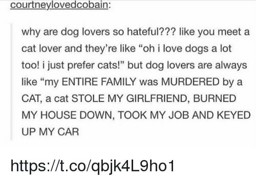 """cat lover: courtneylovedcobain:  why are dog lovers so hateful??? like you meet a  cat lover and they're like """"oh i love dogs a lot  too! i just prefer cats!"""" but dog lovers are always  like """"my ENTIRE FAMILY was MURDERED by a  CAT, a cat STOLE MY GIRLFRIEND, BURNED  MY HOUSE DOWN, TOOK MY JOB AND KEYED  UP MY CAR  46 https://t.co/qbjk4L9ho1"""