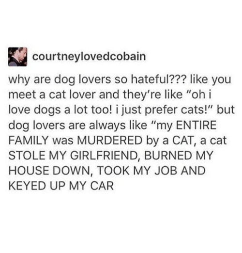 """cat lover: courtneylovedcobain  why are dog lovers so hateful??? like you  meet a cat lover and they're like """"ohi  love dogs a lot too! i just prefer cats!"""" but  dog lovers are always like """"my ENTIRE  FAMILY was MURDERED by a CAT, a cat  STOLE MY GIRLFRIEND, BURNED MY  HOUSE DOWN, TOOK MY JOB AND  KEYED UP MY CAR"""