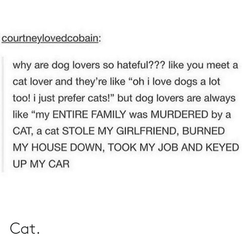 """cat lover: courtneylovedcobain:  why are dog lovers so hateful??? like you meet a  cat lover and they're like """"oh i love dogs a lot  too! i just prefer cats!"""" but dog lovers are always  like """"my ENTIRE FAMILY was MURDERED by a  CAT, a cat STOLE MY GIRLFRIEND, BURNED  MY HOUSE DOWN, TOOK MY JOB AND KEYED  UP MY CAR Cat."""