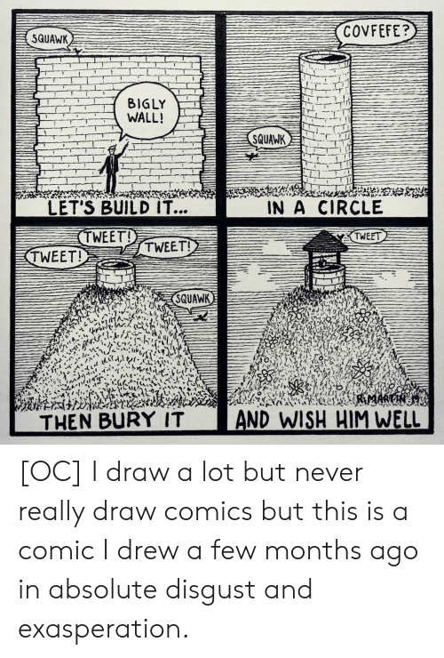 Never, Comics, and Comic: COVFEFE?  SQUAWK  BIGLY  WALL!  SQUAWK  LET'S BUILD IT...  IN A CIRCLE  TWEET!  TWEET  TWEET!  TWEET!  SQUAWK  RMARTHESRA  AND WISH HIM WELL  THEN BURY IT [OC] I draw a lot but never really draw comics but this is a comic I drew a few months ago in absolute disgust and exasperation.