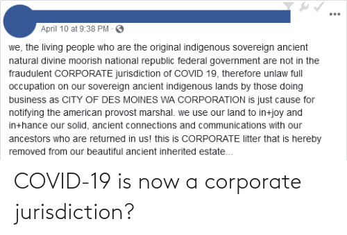 corporate: COVID-19 is now a corporate jurisdiction?