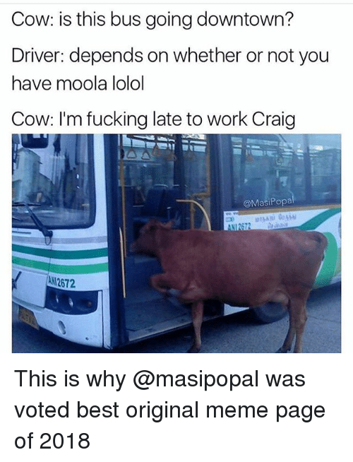 Fucking, Funny, and Meme: Cow: is this bus going downtown?  Driver: depends on whether or not you  have moola lolol  Cow: I'm fucking late to work Craig  @MasiPopa  aNI2672  ANI2672 This is why @masipopal was voted best original meme page of 2018