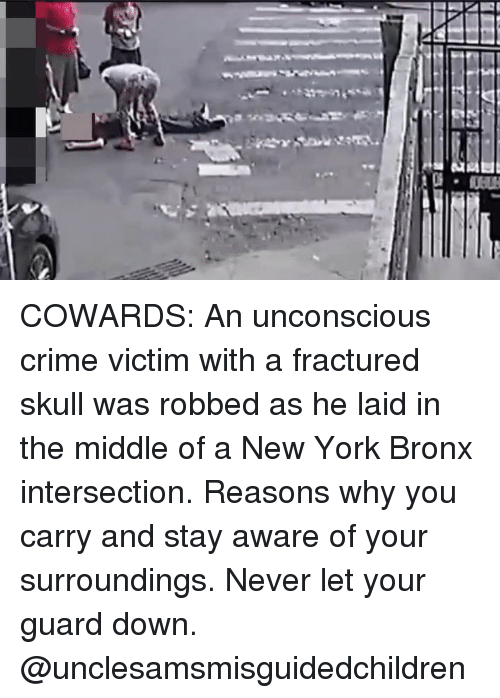 Crime, Memes, and New York: COWARDS: An unconscious crime victim with a fractured skull was robbed as he laid in the middle of a New York Bronx intersection. Reasons why you carry and stay aware of your surroundings. Never let your guard down. @unclesamsmisguidedchildren