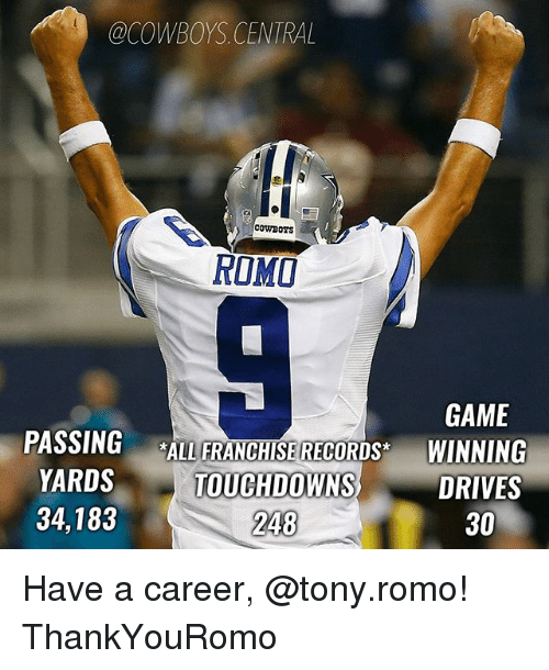 romy: @COWBOYS CENTRAL  COWBOYS  ROMI  GAME  PASSING  *ALL FRANCHISE RECORDS  WINNING  YARDS  TOUCHDOWNS  DRIVES  34,183  30  248 Have a career, @tony.romo! ThankYouRomo