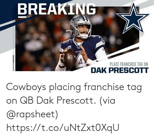 Dallas Cowboys: Cowboys placing franchise tag on QB Dak Prescott. (via @rapsheet) https://t.co/uNtZxt0XqU
