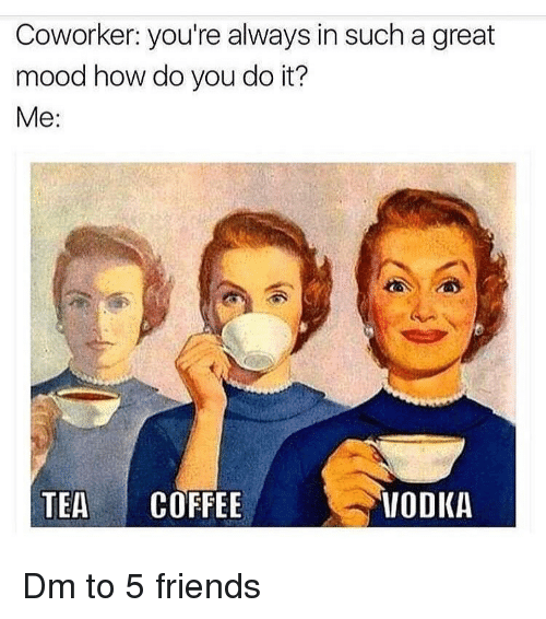 Friends, Memes, and Mood: Coworker: you're always in such a great  mood how do you do it?  Me:  TEA COFFEE  VODKA Dm to 5 friends