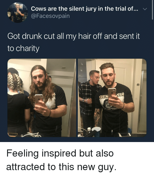 Drunk, Hair, and Girl Memes: Cows are the silent jury in the trial of...  OFacesovpain  Got drunk cut all my hair off and sent it  to charity Feeling inspired but also attracted to this new guy.