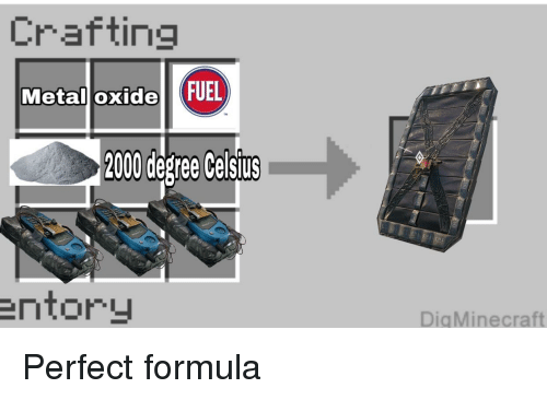 Crafting Metall Oxide FUEL 2000 Degree Celsiurs Entory