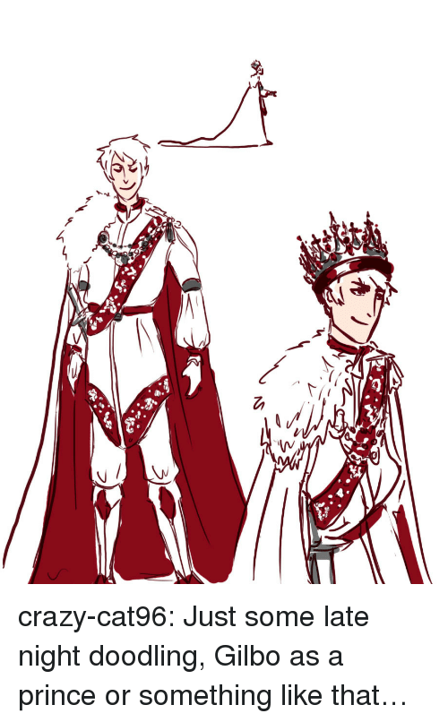 doodling: crazy-cat96:  Just some late night doodling, Gilbo as a prince or something like that…