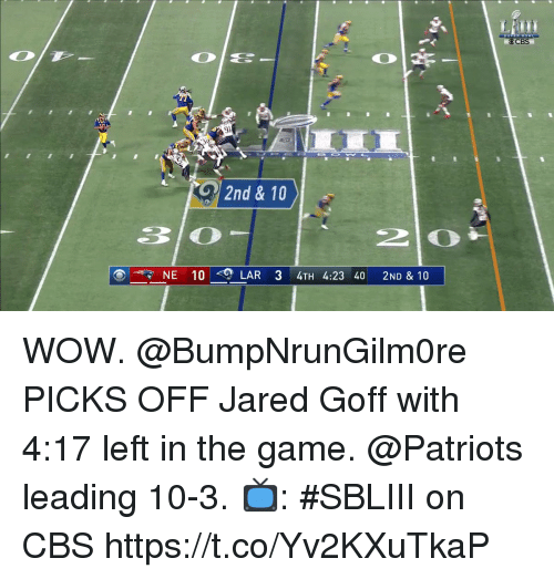 lar: Cre  2nd & 10  30  NE 10 <0)  LAR 34TH 4:23 40 2ND & 10 WOW.  @BumpNrunGilm0re PICKS OFF Jared Goff with 4:17 left in the game. @Patriots leading 10-3.  📺: #SBLIII on CBS https://t.co/Yv2KXuTkaP