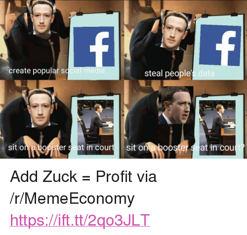 """Boo, Add, and Data: create popular sq  steal people  s data  sit on a booster seat in courtsit on a boo  er  at in cou <p>Add Zuck = Profit via /r/MemeEconomy <a href=""""https://ift.tt/2qo3JLT"""">https://ift.tt/2qo3JLT</a></p>"""