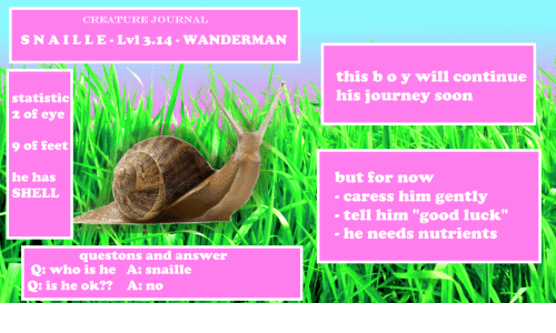 """Statistic: CREATURE JOURNAL  SNAILLE-Lv1 3.14-WANDERMAN  this b o y will continue  his journey soon  statistic  2 of eye  9 of feet  he has  but for now  caress him gently  SHELL  tell him """"good luck""""  - he needs nutrients  questons and answer  Q: who is he A: snaille  : is he ok?? A: no"""