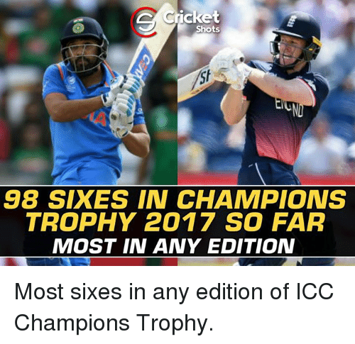 champions trophy: Cricket  Shots  98 SIXES IN CHAMPIONS  TROPHY 2017 SO FAR  MOST IN ANY EDITION Most sixes in any edition of ICC Champions Trophy.