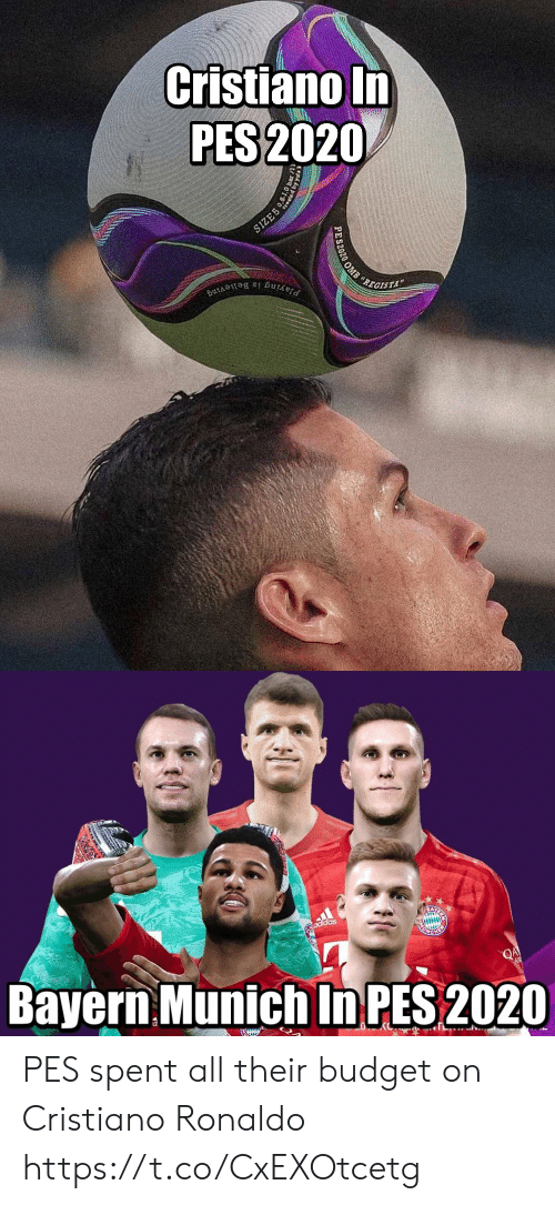 Adidas: Cristiano In  PES 2020  SIZE5  REGISTA  Playing is Believing  PES2020 OMB   adidas  Bayern Munich In PES 2020  QA  EWIUN PES spent all their budget on Cristiano Ronaldo https://t.co/CxEXOtcetg