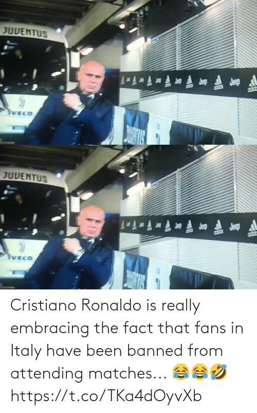 Italy: Cristiano Ronaldo is really embracing the fact that fans in Italy have been banned from attending matches... 😂😂🤣 https://t.co/TKa4dOyvXb