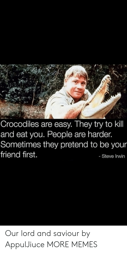 Dank, Memes, and Steve Irwin: Crocodiles are easy. They try to kil  and eat you. People are harder.  Sometimes they pretend to be your  friend first.  - Steve Irwin Our lord and saviour by AppulJiuce MORE MEMES