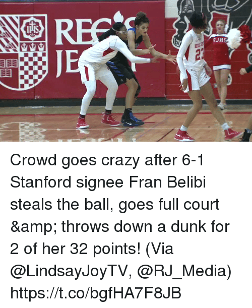 Stanford: Crowd goes crazy after 6-1 Stanford signee Fran Belibi steals the ball, goes full court & throws down a dunk for 2 of her 32 points!   (Via @LindsayJoyTV, @RJ_Media) https://t.co/bgfHA7F8JB