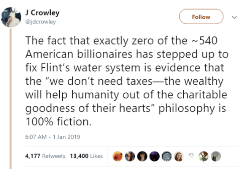 "Anaconda, Taxes, and Zero: Crowley  @jdcrowley  Follow  The fact that exactly zero of the 540  American billionaires has stepped up to  fix Flint's water system is evidence that  the ""we don't need taxes-the wealthy  will help humanity out of the charitable  goodness of their hearts"" philosophy is  100% fiction.  6:07 AM-1 Jan 2019  4,177 Retweets 13,400 Likes"
