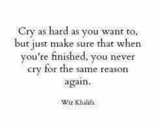 Never, Reason, and Wiz: Cry as hard as you want to,  but just make sure that when  you're finished, you never  cry for the same reason  again  Wiz Khalif