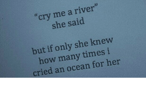 """How Many Times, Ocean, and How: cry me a river""""  she said  but if only she knew  how many times i  cried an ocean for her"""