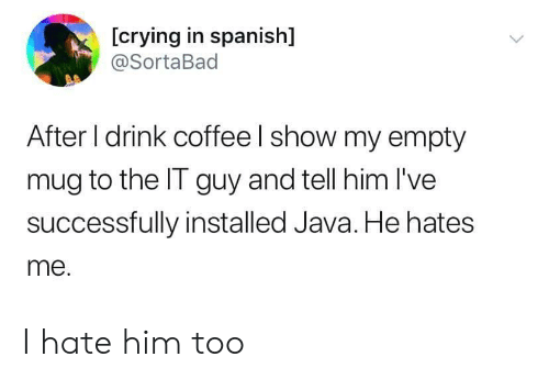 Java: [crying in spanish]  @SortaBad  After I drink coffee I show my empty  mug to the IT guy and tell him I've  successfully installed Java. He hates  me. I hate him too