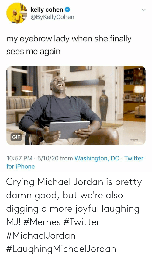 digging: Crying Michael Jordan is pretty damn good, but we're also digging a more joyful laughing MJ! #Memes #Twitter #MichaelJordan #LaughingMichaelJordan