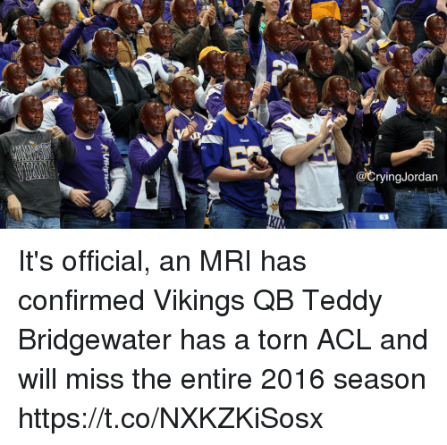 teddy bridgewater: @CryingJordan It's official, an MRI has confirmed Vikings QB Teddy Bridgewater has a torn ACL and will miss the entire 2016 season https://t.co/NXKZKiSosx